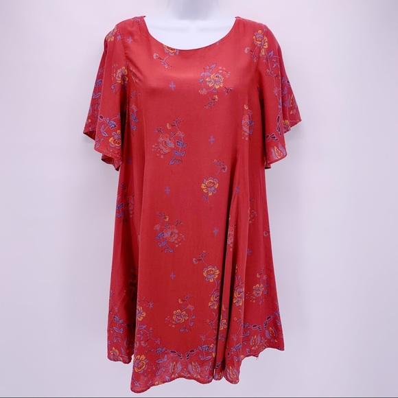 Kimchi Blue Dresses & Skirts - Kimchi Blue Red Boho Floral Open Back Dress Sz M